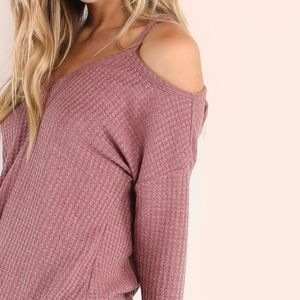 Tops - Waffle Knit Shoulder Top